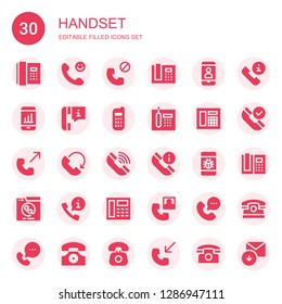 handset icon set. Collection of 30 filled handset icons included Phone, Calling, Phone call, Phone receiver, Telephone, Call, Received