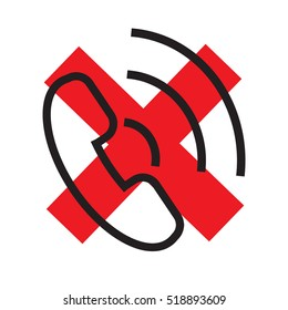 The handset, phone icon.Icon rejected call phone.Isolated on white background with a red cross.Design, logo, icon. Vector illustration