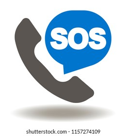 Handset with SOS talk balloon icon vector. Rescue services phone call illustration. Emergency talk contact logo.