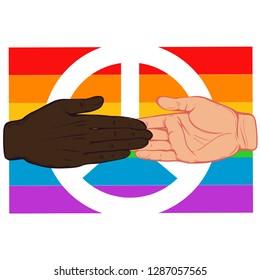 Handshake 2 races on the background of the rainbow flag. Brotherhood. Sisterhood. LGBT union. Vector illustration