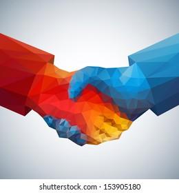 Handshake abstract art