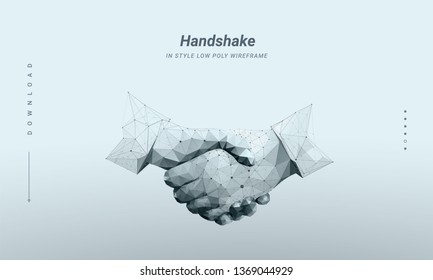 Handshake. Abstract image two hands handshake in the form of a starry sky and consisting of points, lines, and shapes in the form of planets, stars.  Particles are connected in a geometric silhouette
