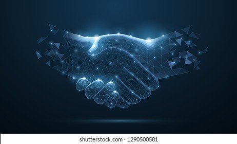 Handshake. Abstract handshake isolated on blue background. Business agreement, teamwork, partnership deal, businessman cooperation, corporate meeting, contract, friendship concept vector illustration