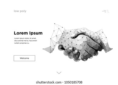 handshake. Abstract mesh line and point Business handshake origami on white background with an inscription. Starry sky or space, consisting of stars and the universe. Vector business illustration