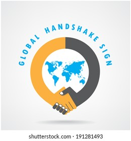 Handshake abstract sign vector design template. Business creative concept.vector illustration contains gradient mesh,credit :NASA