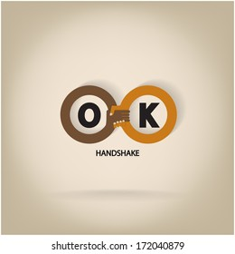 Handshake abstract symbol vector design template. Business creative concept. Deal, contract, team, cooperation symbol icon