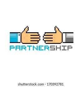 handshake abstract vector illustration pixel art style