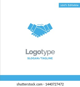 Handshake, Agreement, Business, Hands, Partners, Partnership Blue Solid Logo Template. Place for Tagline