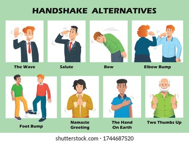 Handshake alternatives to stop the spread of coronavirus. Alternatives to handshakes, hugs, high fives. Eight Safe Alternatives to the Handshakes.