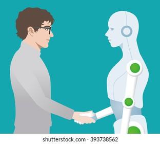 Handshake between man and robot
