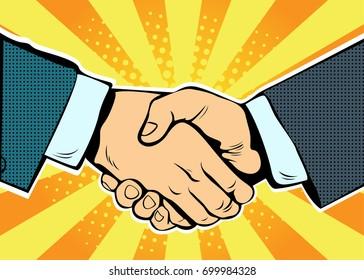 Handshake business deal contract, partnership and teamwork, pop art retro comic book vector illustration. Business concept
