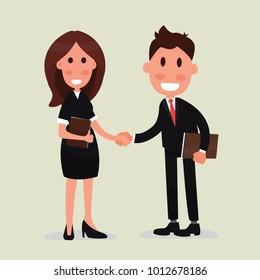 Handshake business man and business woman