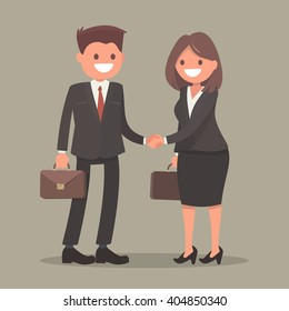 Handshake business man and business woman. Vector illustration