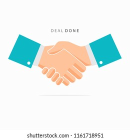 Handshake of business partners. Vector flat style illustration. Eps 10. Green. Deal. Done
