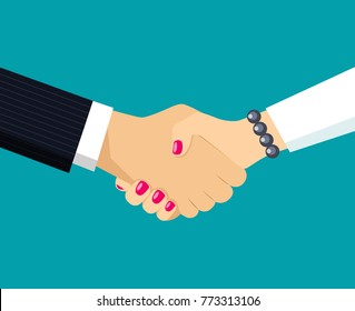 Handshake of business partners. Women's and men's hands. Vector flat style illustration.