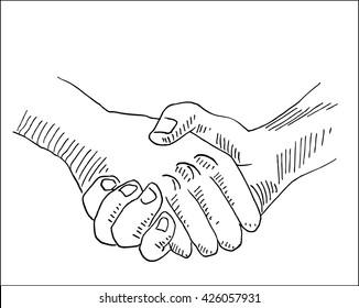 handshake business and partnership symbol hand drawn sketch vector illustration