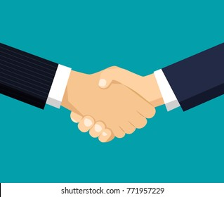 Handshake of business partners.Vector flat style illustration
