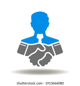 Handshake and businessman vector icon. Mediator finds a compromise solution to deal. Mediation symbol.