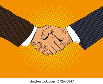Handshake of businessmen. A business meeting. Business transaction. Vector illustration in style of pop art on an orange background.