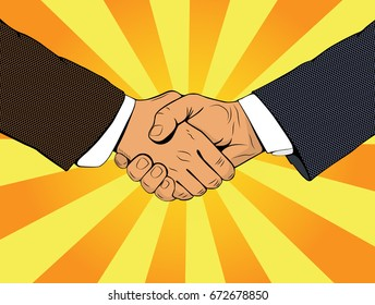 Handshake of businessmen. A business meeting. Business transaction. Vector illustration in style of pop art on an yellow-orange background.