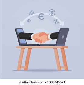 Handshake of businessmen from screens laptop vector illustration. Secure transactions in the network. The signing of a major financial transaction via internet
