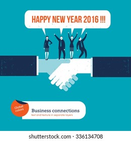 Handshake with businesspeople saying happy new year 2016. Vector illustration Eps10 file. Global colors. Text and Texture in separate layers.