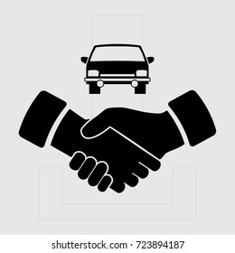 handshake and car vector icon