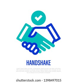 Handshake with check mark thin line icon. Symbol of deal, contract, resolution. Vector illustration.