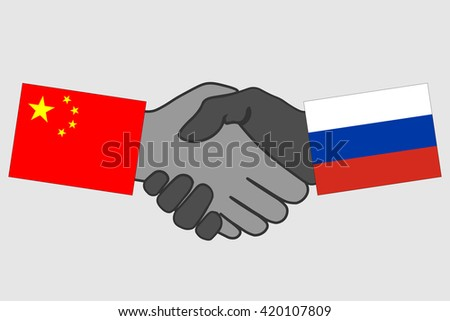 Handshake China Russia Flag Handshake Icon Stock Vector Royalty