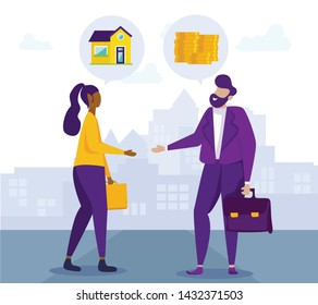 Handshake Client and Broker. Housing Installments. Vector Illustration. Coin and Banknote. Saving. White Background. New Housing. Seller and Buyer. Broker and Client. Handshake Man and Women.