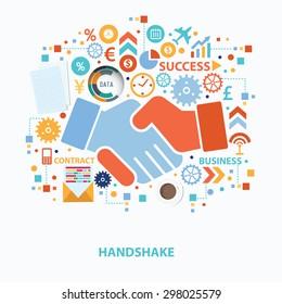 Handshake concept design on white background,clean vector