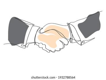 Handshake continuous line drawing. minimalist