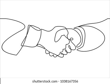 Handshake continuous line vector drawing. Business agreement vector concept