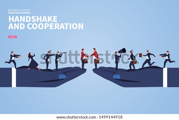 Handshake and cooperation, business team business concept