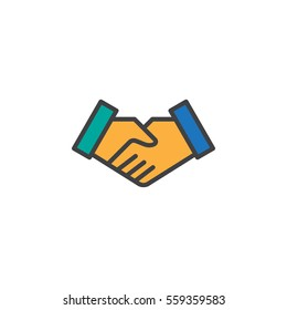 Handshake deal line icon, filled outline vector sign, linear colorful pictogram isolated on white. Business partnership symbol, logo illustration