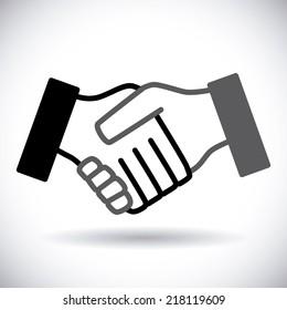 Handshake design over white background vector illustration