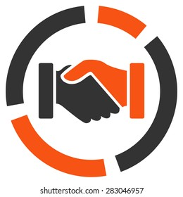 Handshake diagram icon from Business Bicolor Set. Vector style: bicolor flat symbol, orange and gray colors, rounded angles, white background.