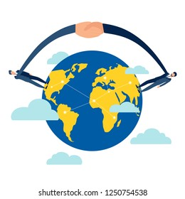 Handshake from different countries and continents of earth globe. Business make deal metaphor in minimalistic flat style. Cartoon vector illustration