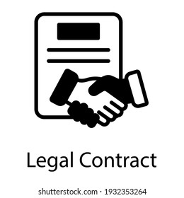 Handshake and document denoting glyph icon of legal contract