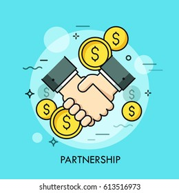 Handshake and dollar coins. Business partnership, effective and beneficial cooperation, deal making, agreement concept. Vector illustration in thin line style for website, banner, presentation, ad.