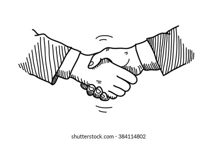 Handshake Doodle, a hand drawn vector doodle illustration of hands shaking to a mutual agreement in a business partnership.
