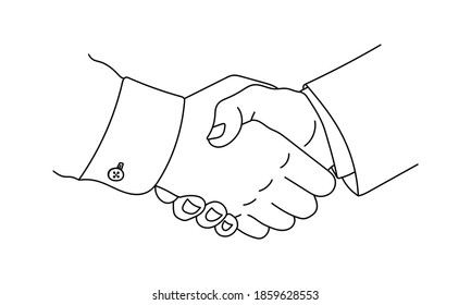 Handshake doodle icon. Hand shake outline sketch. Business, partnership, deal, agreement and friendship symbol. Vector illustration.