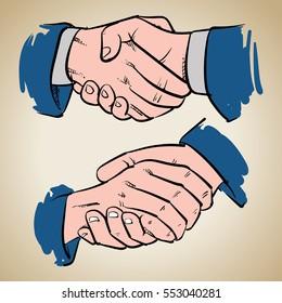 Handshake drawing on vintage background. Successful business people handshaking vector illustration. Business success.