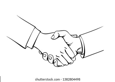 Handshake drawn by hand. Sketch business partners, agreement, deal.