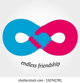 Handshake endless friendship and partnership concept, vector illustration