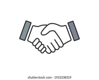 Handshake flat design icon illustration.