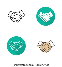 Handshake flat design, linear and color icons set. Business agreement. Partnership contour and long shadow symbols. Handshake logo concepts. Shaking hands isolated vector illustrations
