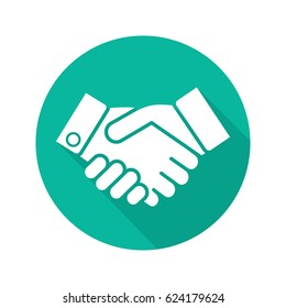 Handshake flat design long shadow icon. Business partnership. Negotiations. Vector silhouette symbol