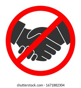 Handshake forbidden vector sign. No collaboration sign on white background. No dealing icon isolated.Coronavirus