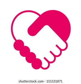 Handshake in the form of heart